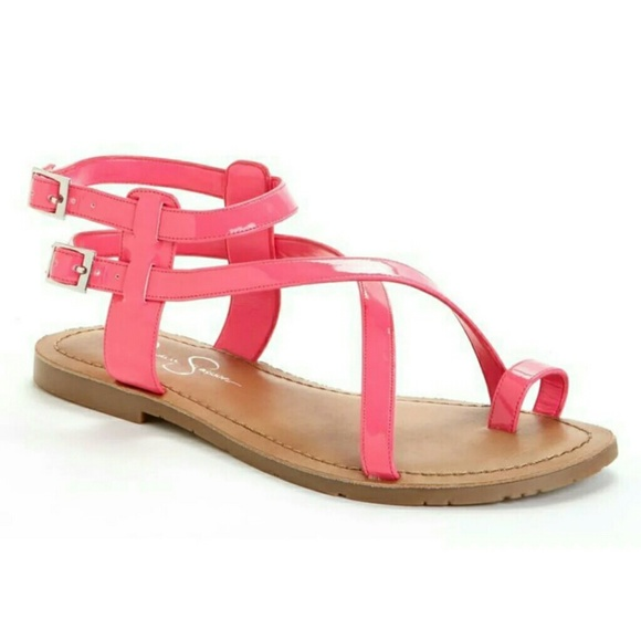 3e09e62af142 Jessica Simpson Shoes - Jessica Simpson Neon Pink Derren Flat Sandals 7